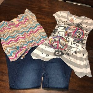 Girls 7/8 Bundle 2 Shirts & a Pair of Jeans